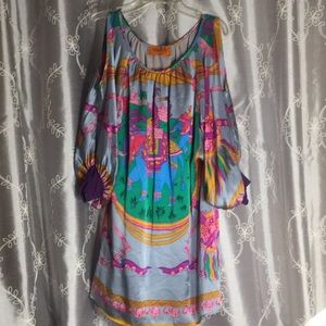 EUC Voom ny John Han 100% Silk Printed Dress, XS